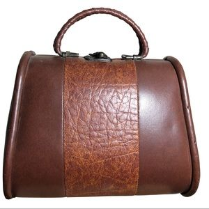 🔥 Vintage 60's/70's Leather/Wood Mini Handbag